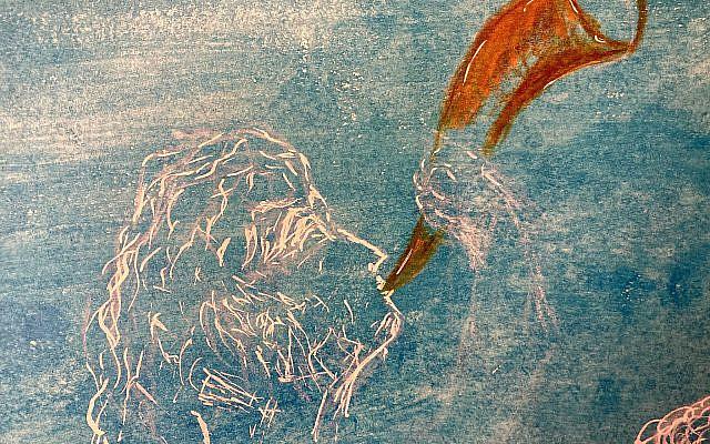 Michael Rogatchi (C). King David's Shofar. Indian Ink, oil pastel on Italian hand-made cotton paper. 40 x 60 cm. 2020.