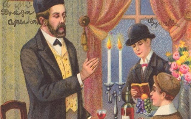 'The rituals of Shabbes and holidays and the lively Hasidic niggunim as well as their soulful prayer marked the happiest and deepest memories of my father's prewar life.' [Image from the Joseph and Margit Hoffman Judaica Postcard Collection, The Folklore Research Center at the Mandel Institute of Jewish Studies, The Hebrew University of Jerusalem; available via the National Library of Israel Digital Collection]