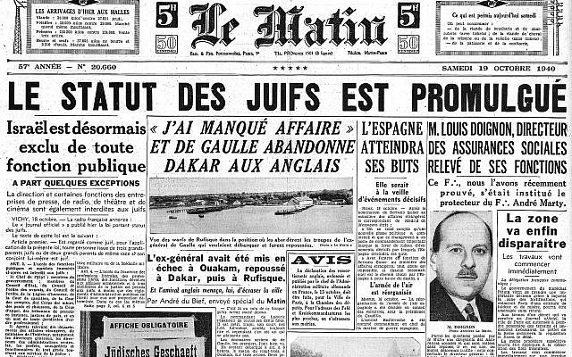 Le Matin newspaper headline announces promulgation of laws on the status of Jews under the Vichy regime, October 18, 1940 (Via Wikimedia)
