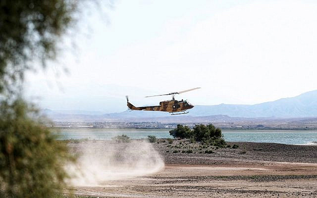 A helicopter is seen during an Iranian Army exercise near Azerbaijani border. Iranian Army/WANA.jpeg