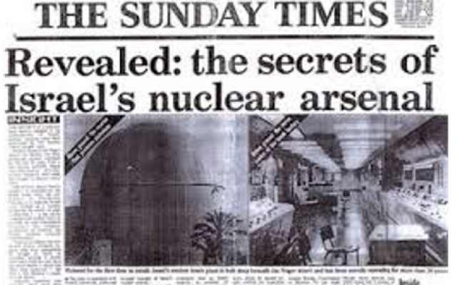 Sunday Times discloses Israeli nuclear arsenal
