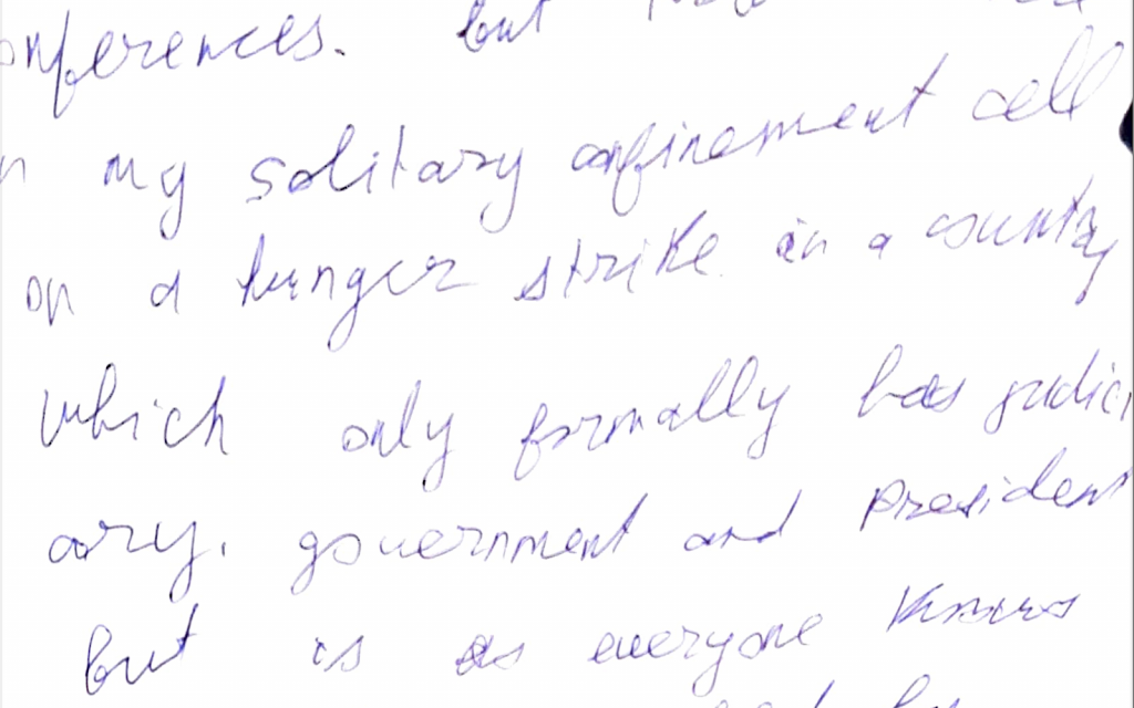 Detail of a letter written by Mikheil Saakashvili while imprisoned in what he describes as solitary confinement (courtesy)