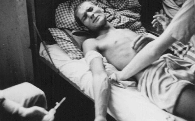 A Romani victim of Nazi medical experiments. Dachau concentration camp, Germany, 1944.