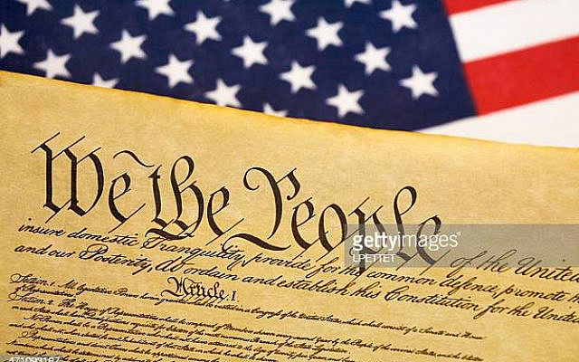 Constitution with USA flag background