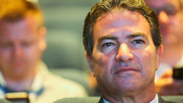 Head of the Mossad Yossi Cohen speaks at a Cyber confrence at the Tel Aviv University on June 24, 2019. Photo by Flash90 *** Local Caption ***