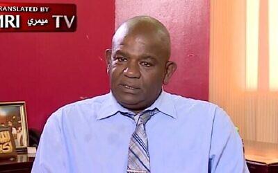 تصویر: ابوالقاسم بورتوم، نماینده پیشین پارلمان سودان در مصاحبه با بخش عربی شبکه تلویزیونی العربیه، دوشنبه ۱۲ اکتبر ۲۰۲۰. (Screengrab: memri.org)