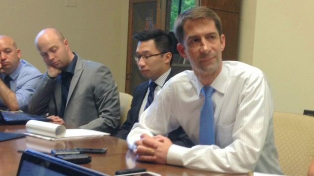 Sen. Tom Cotton speaking to Israeli reporters in his Washington office, August 4, 2015 (Raphael Ahren)