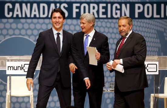From left to right: Liberal leader Justin Trudeau), Conservative Prime Minister Stephen Harper, and New Democratic Party leader Thomas Mulcair - reuters