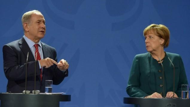 کنفرانس مطبوعاتی نخست وزیر اسرائیل و صدر اعظم آلمان در برلن