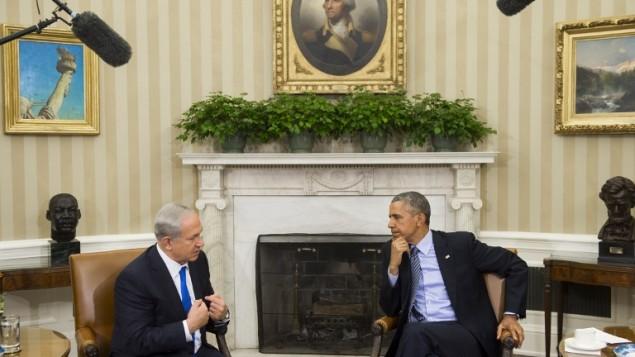 دیدار رئیس جمهوری ایالات متحده با نخست وزیر اسرائیل در کاخ سفید (9 نوامبر 2015) (عکس: AFP/ SAUL LOEB)