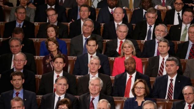 سخنرانی اتحاد ایالات از سوی ریاست جمهوری ایالات متحده آمریکا باراک اوباما در کنگره آمریکا - مارک ویلسون خبرگزاری فرانسه
