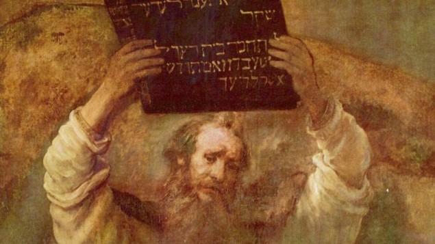 حضرت موسی حین شکستن «لوح ده فرمان» (Wikipedia)