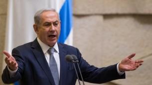 نتانیاهو حین سخنرانی خطاب به کنست - یوناتان سیندل