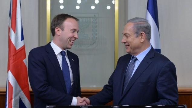 نخست وزیر بنیامین نتانیاهو با وزیر کابینه بریتانیا، ماتیو هانکوک - عکس از کوبی گیدوئن
