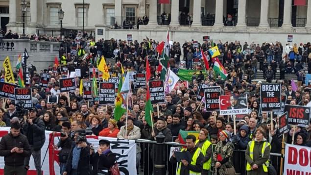 تظاهرات هزاران کُرد مقیم بریتانیا