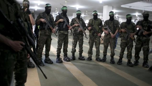 اعضای تیپ عزالدین القاسم، شاخه نظامی جنبش اسلامی فلسطینیان - خبرگزاری فرانسه