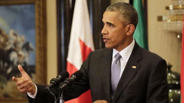 ریاست جمهوری ایالات متحده باراک اوباما حین گفتگو در کنفرانس مطبوعاتی