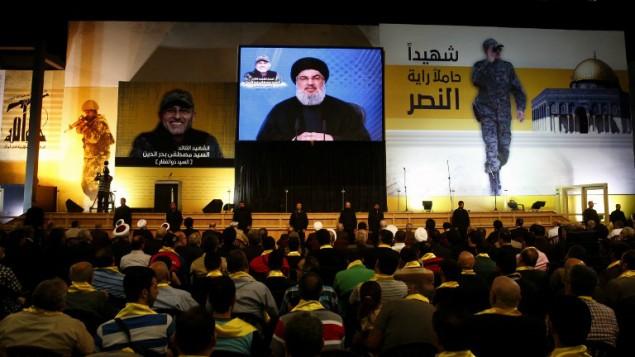 رهبر حزب الله حسن نصرالله در ۲۰ می ۲۰۱۶ در حومه جنوبی بیروت  - خبرگزاری فرانسه