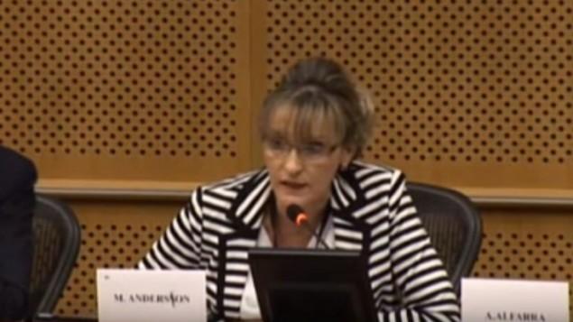 مارتینا اندرسون از ایرلند شمالی در نشستی سخنرانی می کند که گروه مجلس اروپایی «چپ متحد اروپایی / چپ سبز شمالی» سازماندهی شده