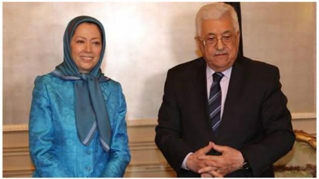 این عکس را تارنمای سازمان مجاهدین خلق ایران از دیدار محمود عباس و مریم رجوی منتشر کرده است (mojahedin.org )