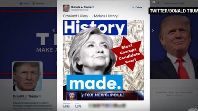 دونالد ترامپ تصویری را توئیت کرد و سپس حذف کرد که در آن با استفاده از نقش ستاره داوود، هیلاری کلینتون «فاسدترین نامزد ریاست جمهوری دوران!» نامیده شد