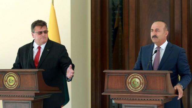 وزیر امور خارجه ترکیه، مولود چاووش اوغلو (راست) و وزیر امور خارجه لیتوانی، لیناس لینکیوسیوس (چپ)