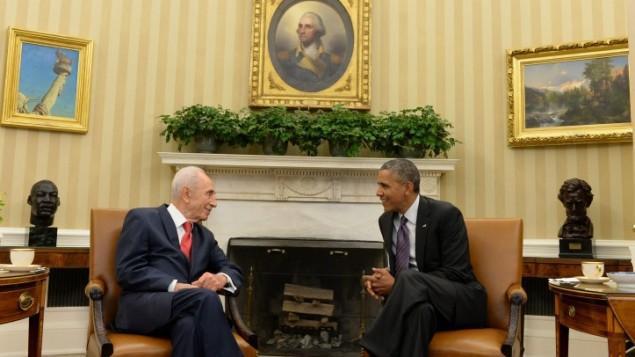 شیمعون پرس پرزیدنت اسرائیل در دیدار با باراک اوباما