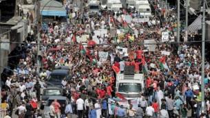 اردنیها ۳۰ سپتامبر ۲۰۱۶ علیه توافق دولت با واردات گاز طبیعی از اسرائیل، در عمان دست به تظاهرات زدند