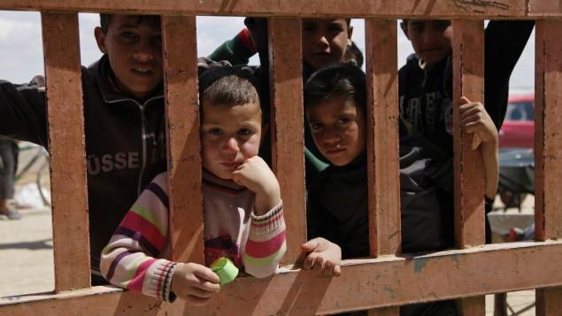پناهجویان سوری از از لای میلههای مقابل خواربارفروشی در کمپ پناهندگی الازرق، شمال شرقی اردن به درون مغازه مینگرند