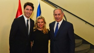 نخستوزیر بنیامین نتانیاهو به همراه همسر خویش سارا ۳۰ سپتامبر ۲۰۱۶ در اقامتگاه نخستوزیری با جاستین ترودو نخستوزیر کانادا (راست) دیدار میکند