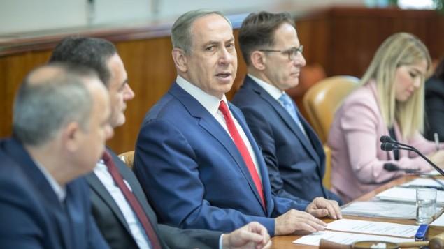 بنیامین نتانیاهو نخست وزیر در جلسهی هفتگی کابینه