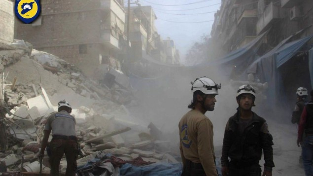 حلب، سوریه (12 اکتبر 2016) (عکس: Syrian Civil Defense- White Helmets via AP)