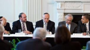 باراک اوباما ریاست جمهوری ایالات متحده همراه با رهبران کنفرانس رؤسای نهادهای اصلی یهودیان آمریکا در کاخ سفید