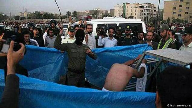 صحنه ای از اجرای مجازات شلاق در ایران