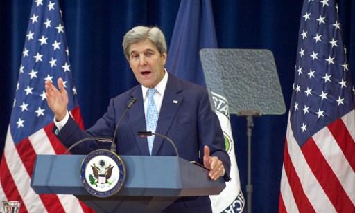 جان کری، وزیر خارجهی ایالات متحده، ۲۸ دسامبر ۲۰۱۶ در وزارت خارجه در واشینگتن، دیدگاه خویش را دربارهی صلح اسرائیل و فلسطینیها بیان میدارد