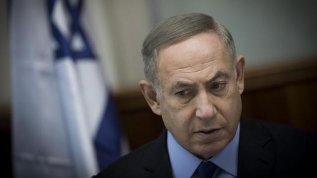 نخست وزیر بنیامین نتانیاهو نخست وزیر در جلسهی هفتگی کابینه در دفتر نخست وزیری در اورشلیم