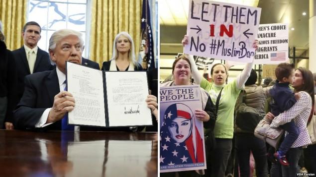 اعتراض برخی مخالفان در فرودگاههای آمریکا - منبع: صدای آمریکا