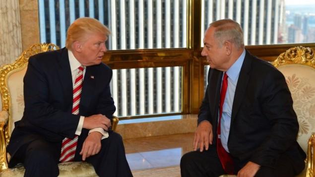 بنیامین نتانیاهو، نخستوزیر اسرائیل، و دونالد ترامپ، نامزد ریاستجمهوری جمهوریخواهان، ۲۵ سپتامبر ۲۰۱۶ در برج ترامپ در نیویورک دیدار میکنند
