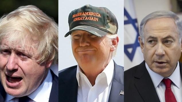 بوریس جانسون، وزیر خارجهی بریتانیا (چپ)، دونالد ترامپ رئیس جمهور منتخب ایالات متحده (وسط)، بنیامین نتانیاهو نخست وزیر