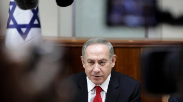بنیامین نتانیاهو، نخستوزیر اسرائیل، در جلسهی هفتگی کابینه