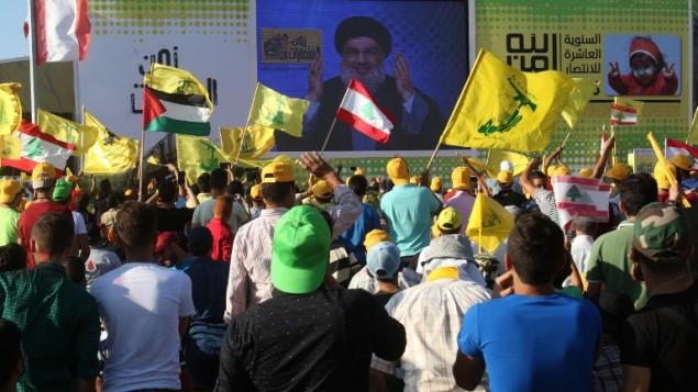 توضیح تصویر: حسن نصرالله رهبر حزبالله حین سخنرانی در بیروت، لبنان، ۱۲ مه ۲۰۱۶