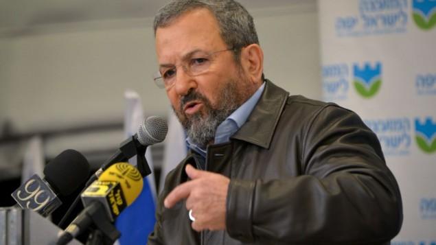 نخست وزیر پیشین اسرائیل اهود باراک در کنفرانس مطبوعاتی حزب کار اسرائيل