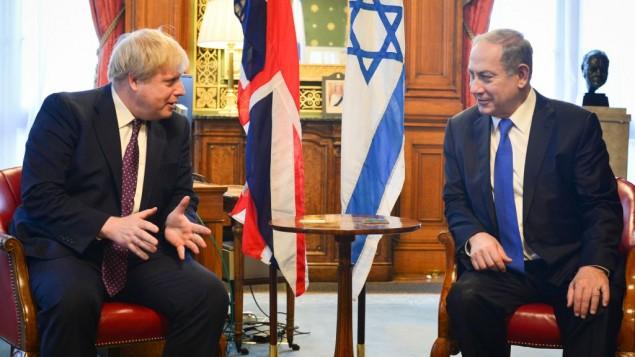 بنیامین نتانیاهو نخست وزیر اسرائیل (راست) حین ملاقات با بوریس جانسون وزیر خارجهی بریتانیا در لندن، انگلستان. بنیامین نتانیاهو در این هنگام در سفر رسمی بوده است، ۶ فوریهی ۲۰۱۷