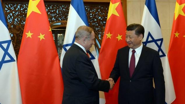 توضیح تصویر: بنیامین نتانیاهو نخست وزیر در دیدار با رئیس جمهور چین شیجینپینگ در پکن، ۲۱ مارس ۲۰۱۷