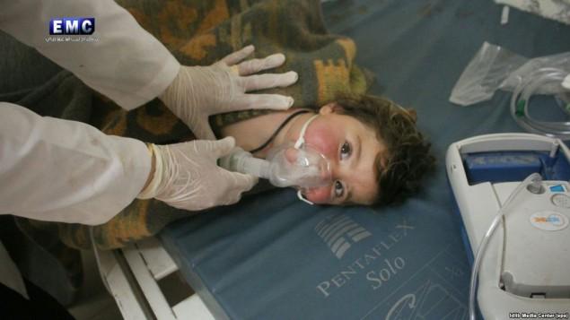 بمباران شیمیایی در استان ادلب سوریه