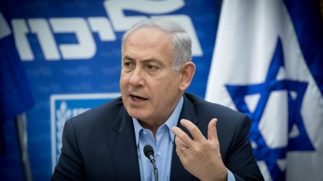 توضیح تصویر: بنیامین نتانیاهو نخست وزیر در جلسهی هفتگی کنست، ۲۹ می ۲۰۱۷
