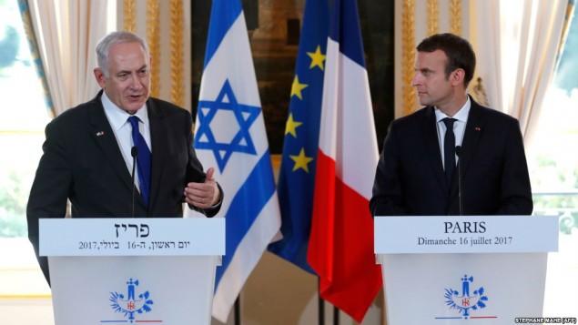 رهبران فرانسه و اسرائیل در یک کنفرانس خبری در کاخ الیزه - پاریس