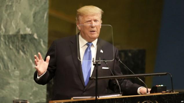 ترامپ در حال سخنرانی در مجمع عمومی سازمان ملل