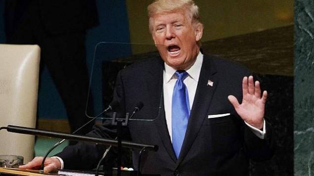 توضیح تصویر: پرزیدنت دونالد ترامپ حین سخنرانی در مجمع عمومی سازمان ملل متحد – ۱۰ سپتامبر ۲۰۱۷