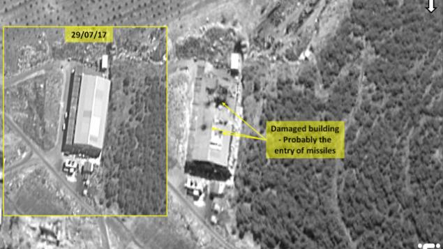 تصاویری که یک کمپانی ماهوارهای تصویری اسرائیلی منتشر کرد آثاری از حملهی هوایی هفتهی اخیر به پایگاه تسلیحاتی سوریه از سوی نیروی هوایی اسرائیل را نشان میدهد.